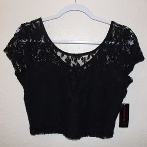 NWT Material Girl black lace crop top